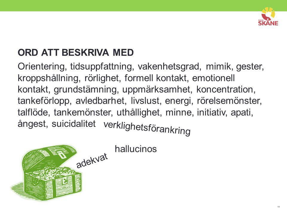 11 ORD ATT BESKRIVA MED Orientering, tidsuppfattning, vakenhetsgrad, mimik, gester, kroppshållning, rörlighet, formell kontakt, emotionell kontakt, gr