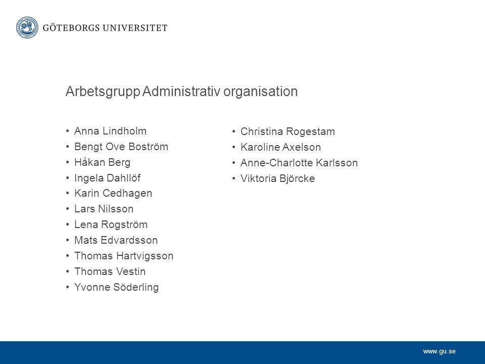 www.gu.se Arbetsgrupp Administrativ organisation Anna Lindholm Bengt Ove Boström Håkan Berg Ingela Dahllöf Karin Cedhagen Lars Nilsson Lena Rogström M