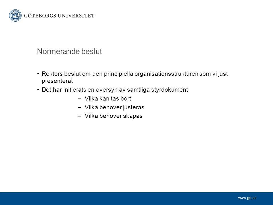 www.gu.se Normerande beslut Rektors beslut om den principiella organisationsstrukturen som vi just presenterat Det har initierats en översyn av samtli