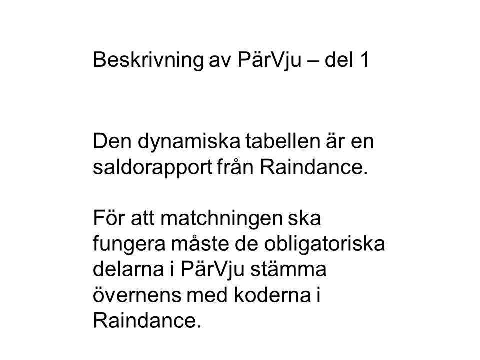 Beskrivning av PärVju – del 1 Den dynamiska tabellen är en saldorapport från Raindance. För att matchningen ska fungera måste de obligatoriska delarna