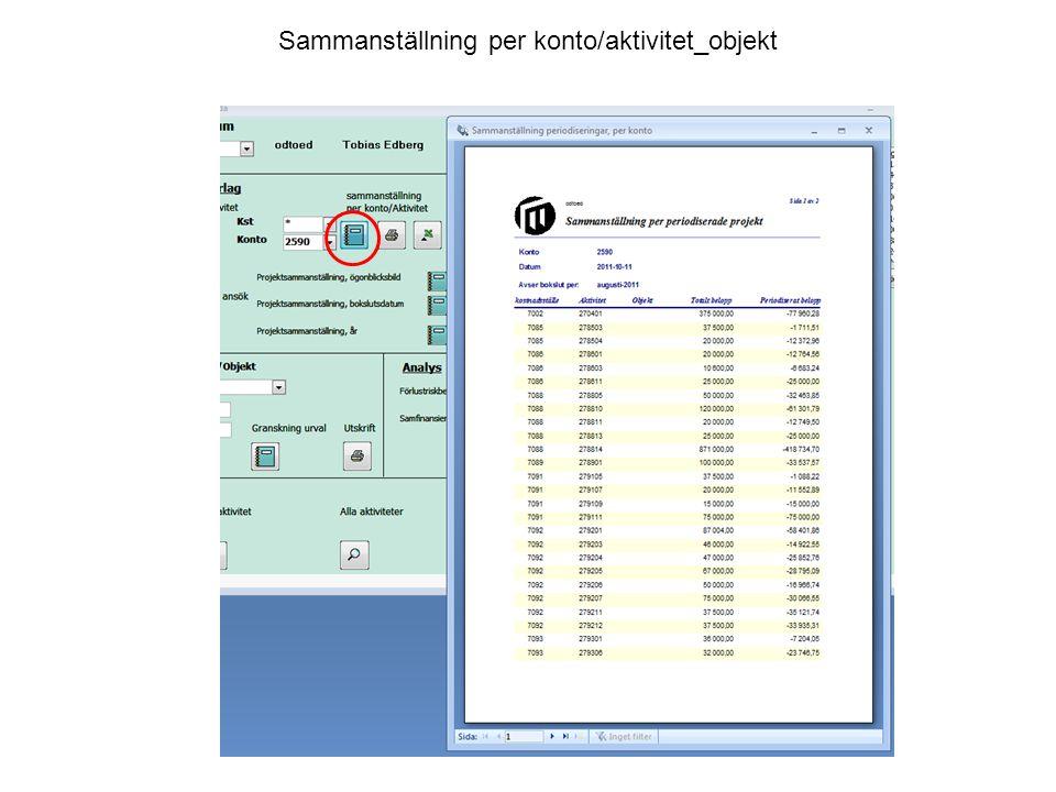 Sammanställning per konto/aktivitet_objekt