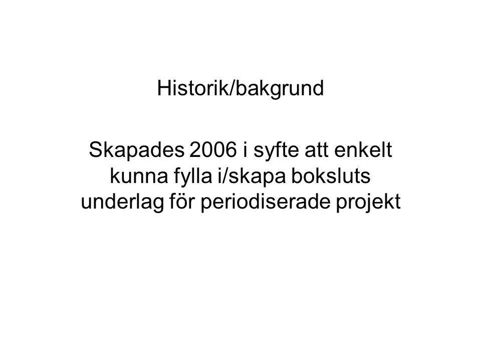 Historik/bakgrund Skapades 2006 i syfte att enkelt kunna fylla i/skapa boksluts underlag för periodiserade projekt