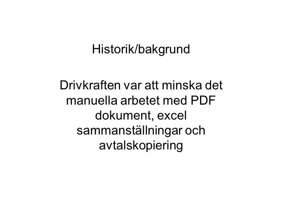 Historik/bakgrund Drivkraften var att minska det manuella arbetet med PDF dokument, excel sammanställningar och avtalskopiering