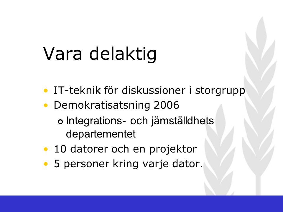 Vara delaktig IT-teknik för diskussioner i storgrupp Demokratisatsning 2006 Integrations- och jämställdhets departementet 10 datorer och en projektor 5 personer kring varje dator.