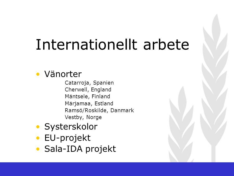Internationellt arbete Vänorter Catarroja, Spanien Cherwell, England Mäntsele, Finland Märjamaa, Estland Ramsö/Roskilde, Danmark Vestby, Norge Systerskolor EU-projekt Sala-IDA projekt