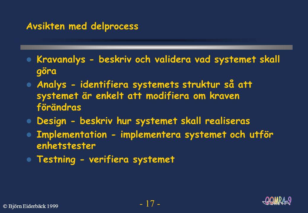 - 17 - © Björn Eiderbäck 1999 Avsikten med delprocess Kravanalys - beskriv och validera vad systemet skall göra Analys - identifiera systemets struktu