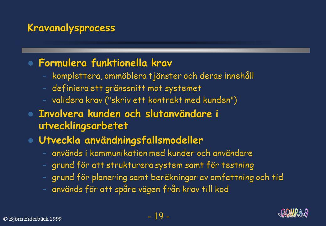 - 19 - © Björn Eiderbäck 1999 Kravanalysprocess Formulera funktionella krav –komplettera, ommöblera tjänster och deras innehåll –definiera ett gränssn