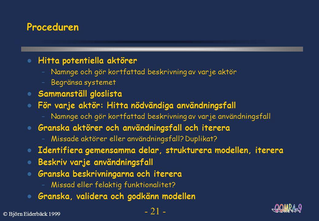 - 21 - © Björn Eiderbäck 1999 Proceduren Hitta potentiella aktörer –Namnge och gör kortfattad beskrivning av varje aktör –Begränsa systemet Sammanstäl