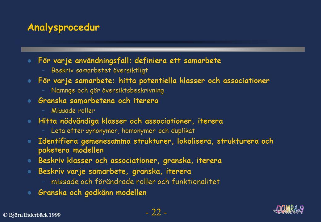 - 22 - © Björn Eiderbäck 1999 Analysprocedur För varje användningsfall: definiera ett samarbete –Beskriv samarbetet översiktligt För varje samarbete: