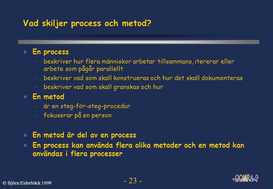 - 23 - © Björn Eiderbäck 1999 Vad skiljer process och metod? En process –beskriver hur flera människor arbetar tillsammans, itererar eller arbete som