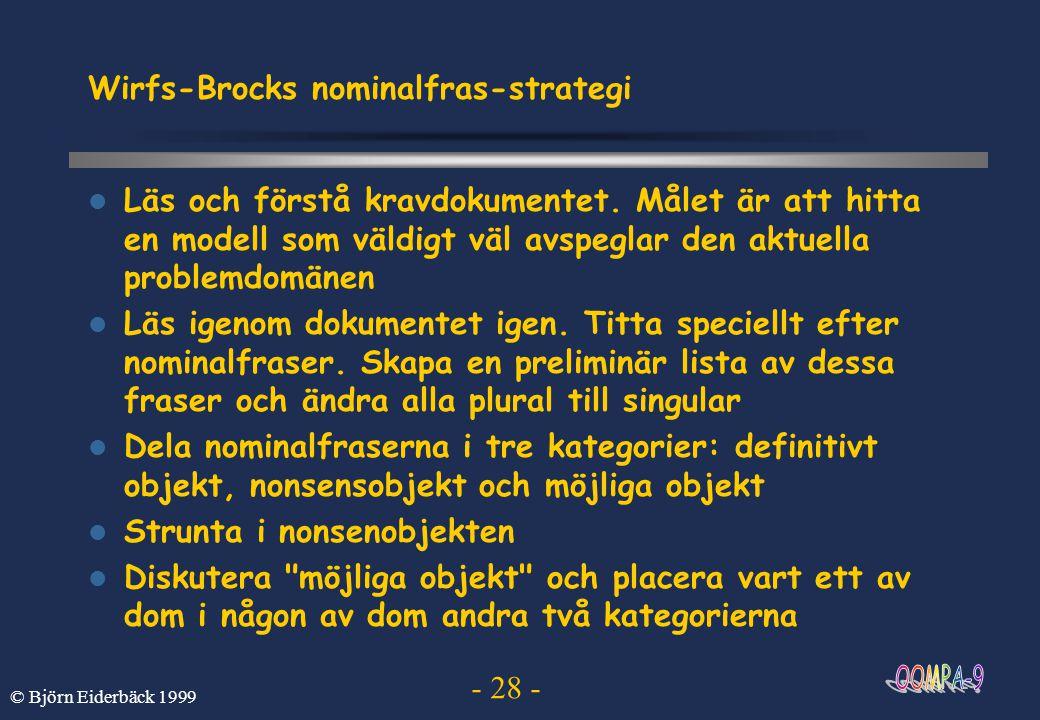 - 28 - © Björn Eiderbäck 1999 Wirfs-Brocks nominalfras-strategi Läs och förstå kravdokumentet. Målet är att hitta en modell som väldigt väl avspeglar