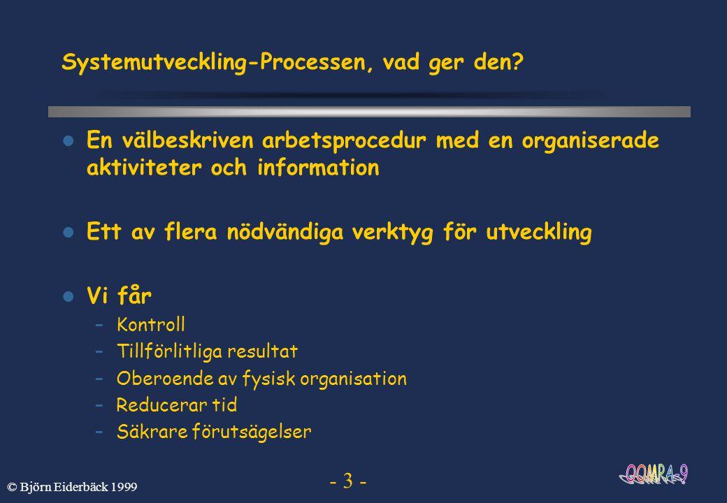 - 4 - © Björn Eiderbäck 1999 Varför används utvecklingsprocesser oftare Typiska kommentarer och påståenden –Datorvetenskapen relativt ung –Systemutveckling är en konst –Systemutveckling är väldigt svårt –Alla vet hur man skriver ett program –Kunden är inte beredd att betala för det hela –....