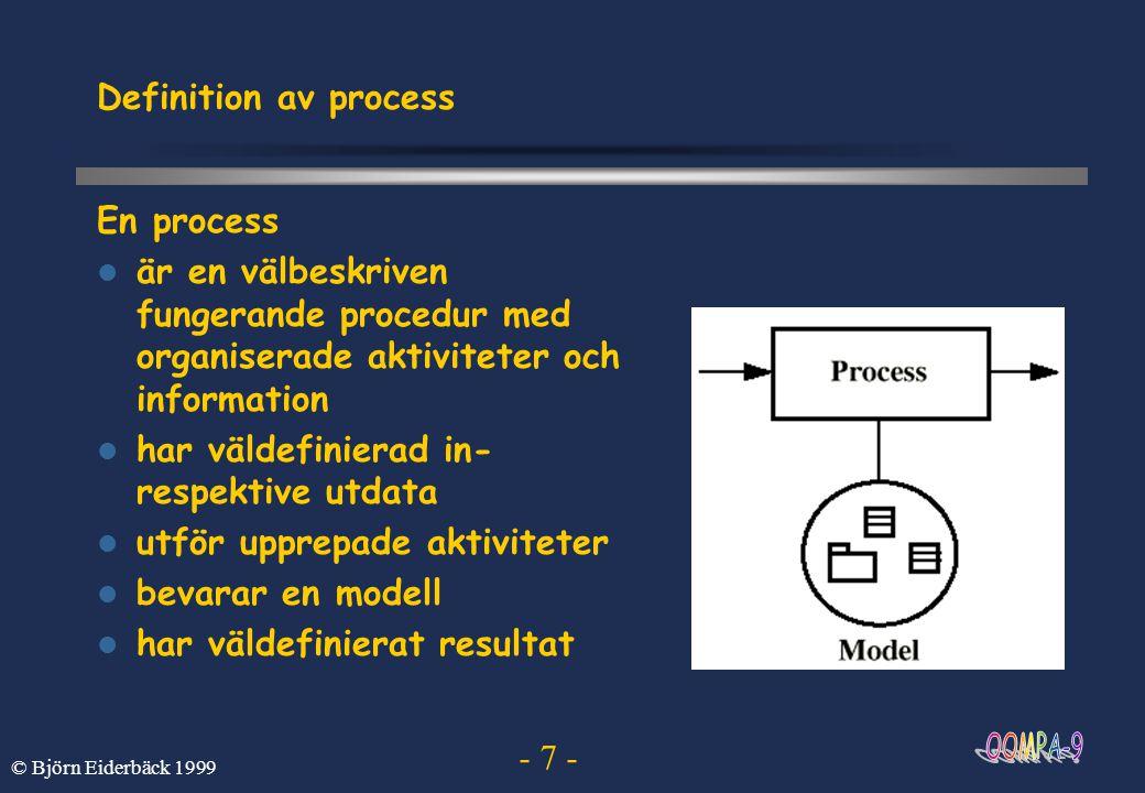 - 8 - © Björn Eiderbäck 1999 Olika systemmodeller En modell är en komplett systemspecifikation från en viss synvinkel och en viss abstraktionsnivå Olika typer av modeller –Användningsfallsmodell - en beskrivning av systemets funktionalitet och dess kommunikation med omgivningen –Analysmodell - en beskrivning av systemets ideala struktur –Designmodell - en beskrivning av det implementerade systemets struktur –Kodmodell - den mest detaljerade beskrivningen av ett system (källkoden) –Testmodell - en beskrivning av dom tester som skall göras respektive deras resultat
