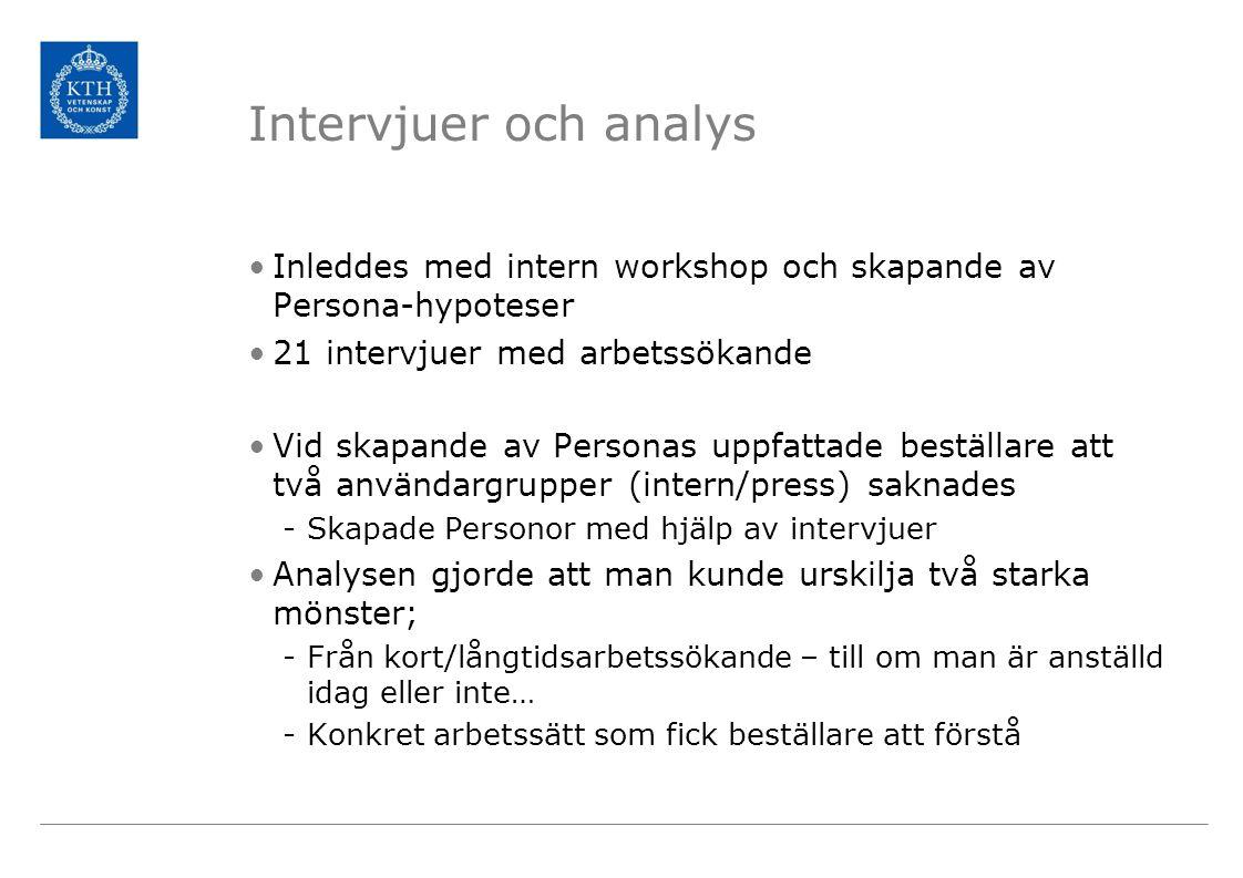 Intervjuer och analys Inleddes med intern workshop och skapande av Persona-hypoteser 21 intervjuer med arbetssökande Vid skapande av Personas uppfattade beställare att två användargrupper (intern/press) saknades -Skapade Personor med hjälp av intervjuer Analysen gjorde att man kunde urskilja två starka mönster; -Från kort/långtidsarbetssökande – till om man är anställd idag eller inte… -Konkret arbetssätt som fick beställare att förstå