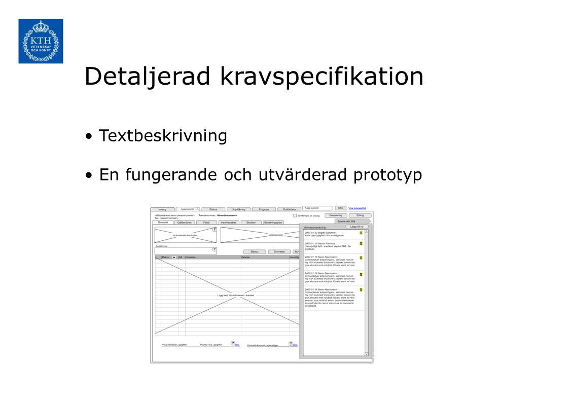 Detaljerad kravspecifikation Textbeskrivning En fungerande och utvärderad prototyp