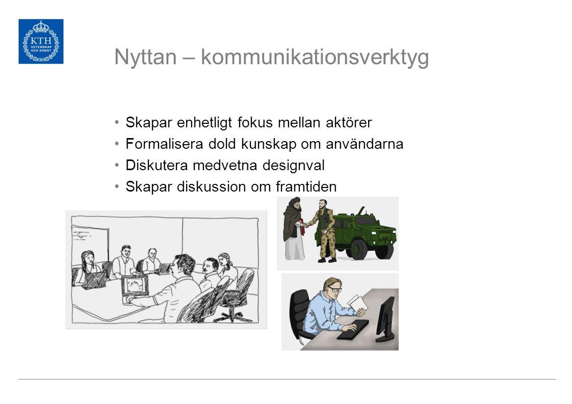 Nyttan – kommunikationsverktyg Skapar enhetligt fokus mellan aktörer Formalisera dold kunskap om användarna Diskutera medvetna designval Skapar diskussion om framtiden