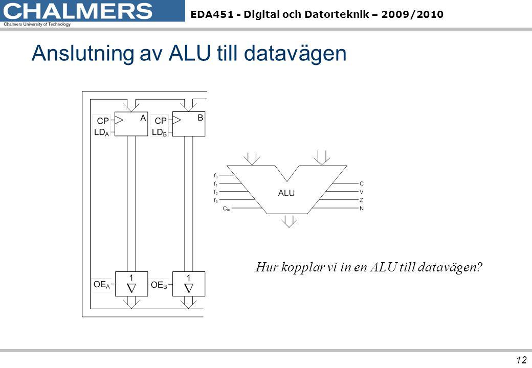 EDA451 - Digital och Datorteknik – 2009/2010 Anslutning av ALU till datavägen 12 Hur kopplar vi in en ALU till datavägen?