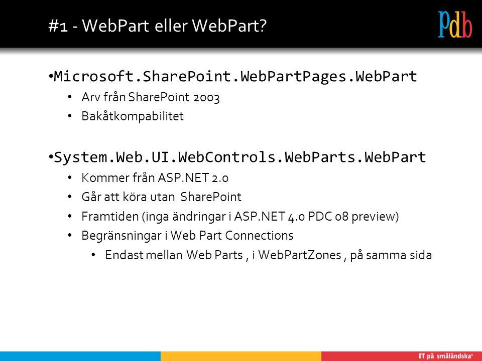 #2 – Förstå Event Modellen Grundläggande ASP.NET 2.0 kunskaper Vad händer med en sida och kontroll när sidan laddas postas tillbaka (PostBack) ViewState Använd aldrig Render() Använd CreateChildControls() Övning Lägg till alla events och stega igenom en laddning och en postback