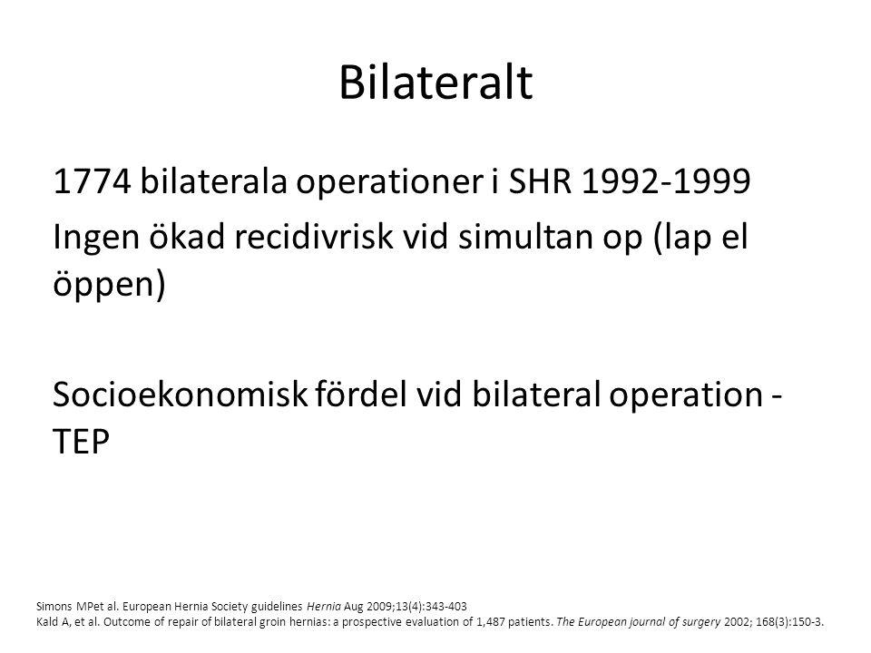 Bilateralt 1774 bilaterala operationer i SHR 1992-1999 Ingen ökad recidivrisk vid simultan op (lap el öppen) Socioekonomisk fördel vid bilateral opera