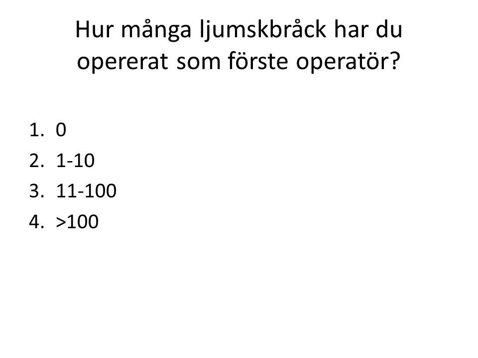 Hur många ljumskbråck har du opererat som förste operatör? 1.0 2.1-10 3.11-100 4.>100