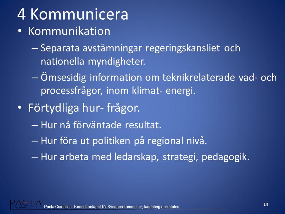 Pacta Guideline, Konsultbolaget för Sveriges kommuner, landsting och staten 4 Kommunicera Kommunikation – Separata avstämningar regeringskansliet och
