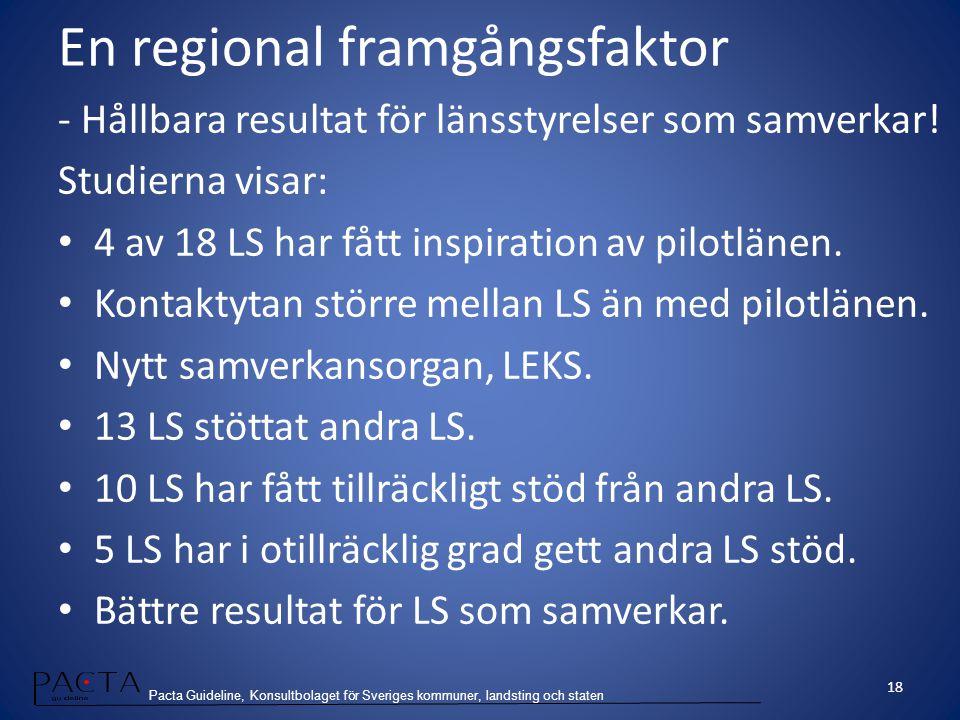 Pacta Guideline, Konsultbolaget för Sveriges kommuner, landsting och staten En regional framgångsfaktor - Hållbara resultat för länsstyrelser som samv