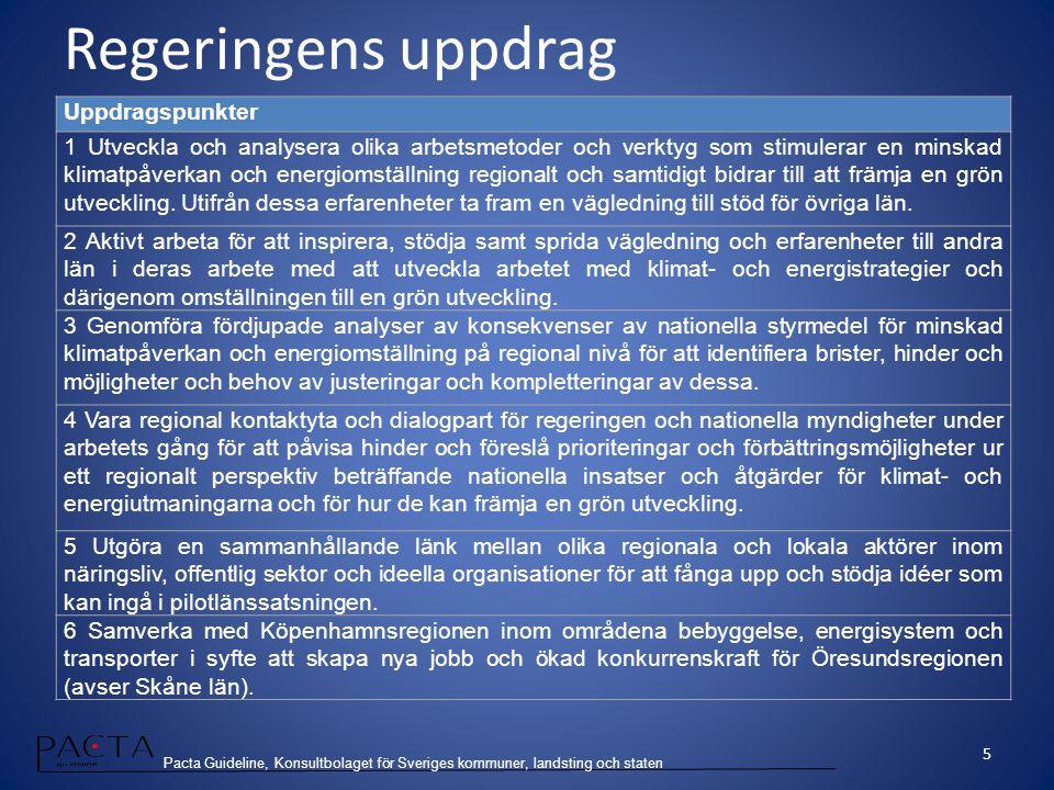 Pacta Guideline, Konsultbolaget för Sveriges kommuner, landsting och staten Regeringens uppdrag Uppdragspunkter 1 Utveckla och analysera olika arbetsm