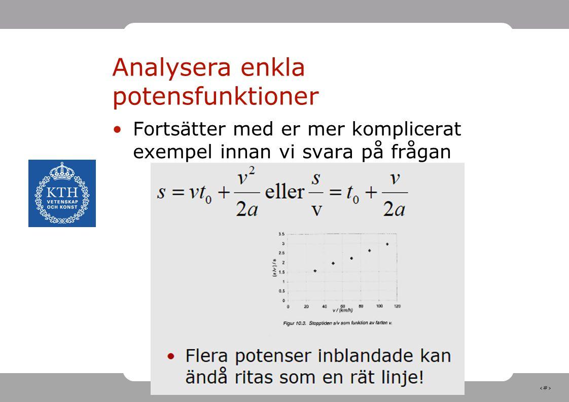 10 Analysera enkla potensfunktioner Fortsätter med er mer komplicerat exempel innan vi svara på frågan
