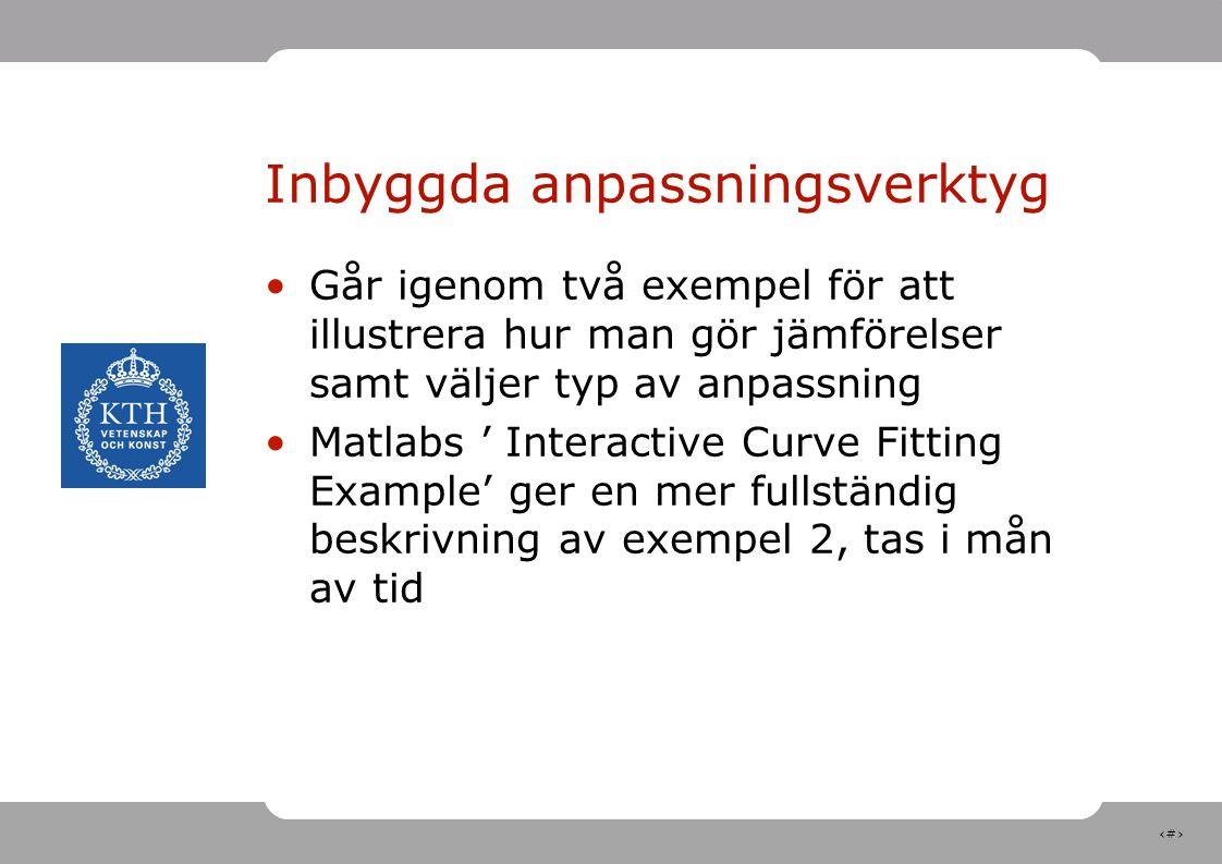 23 Inbyggda anpassningsverktyg Går igenom två exempel för att illustrera hur man gör jämförelser samt väljer typ av anpassning Matlabs ' Interactive C