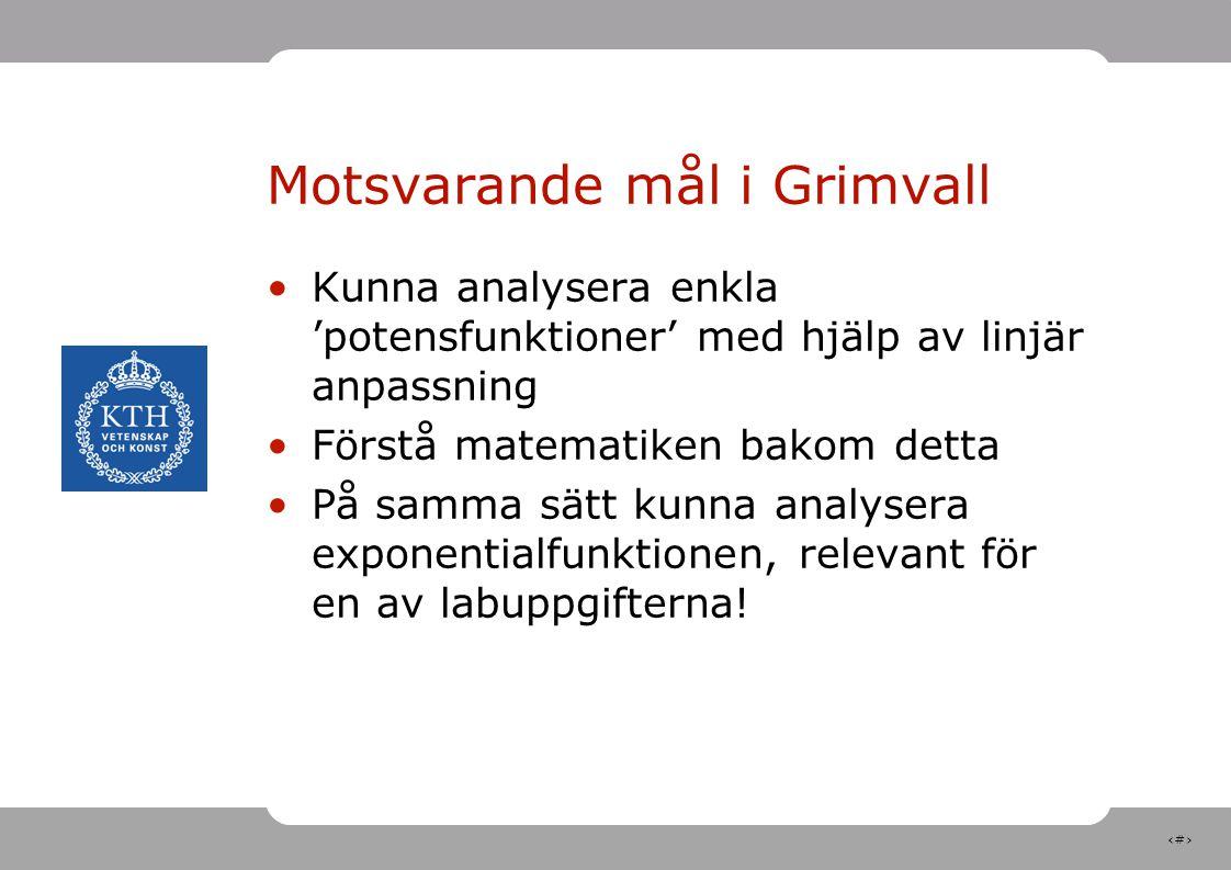 5 Motsvarande mål i Grimvall Kunna analysera enkla 'potensfunktioner' med hjälp av linjär anpassning Förstå matematiken bakom detta På samma sätt kunn
