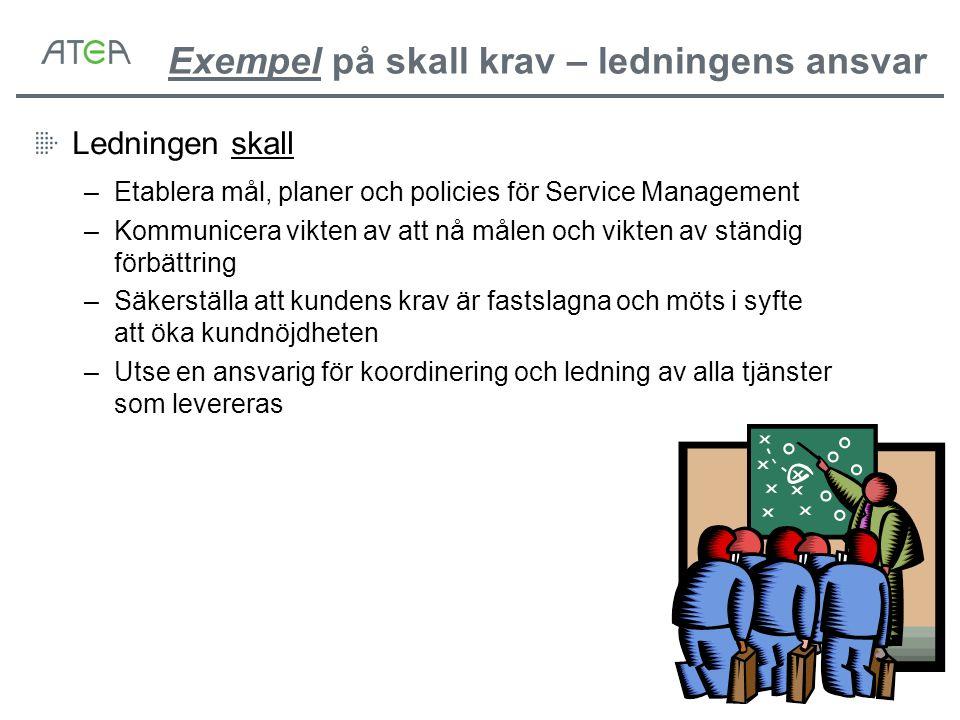 Exempel på skall krav – ledningens ansvar Ledningen skall –Etablera mål, planer och policies för Service Management –Kommunicera vikten av att nå måle