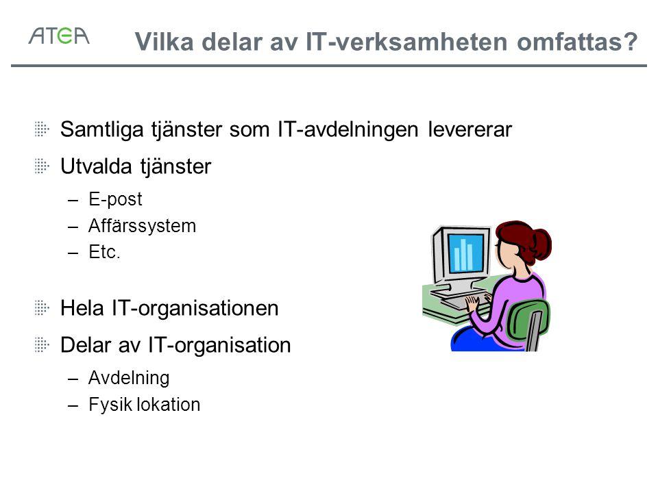 Vilka delar av IT-verksamheten omfattas? Samtliga tjänster som IT-avdelningen levererar Utvalda tjänster –E-post –Affärssystem –Etc. Hela IT-organisat