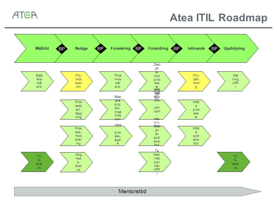 Proc essk art- lägg ning ITIL- intro dukt ion Proc ess- mod eller ing Etab lera mål bild Mog nad s- anal ys Föra nkra mål bild Etab lera proj ekt- org