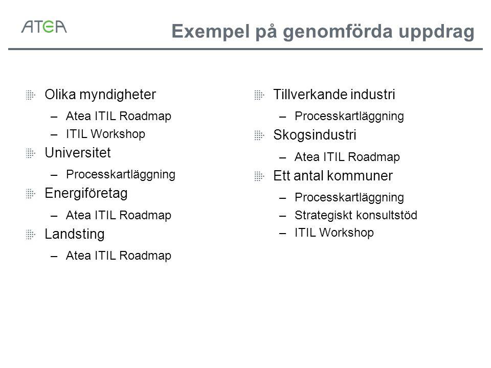 Exempel på genomförda uppdrag Olika myndigheter –Atea ITIL Roadmap –ITIL Workshop Universitet –Processkartläggning Energiföretag –Atea ITIL Roadmap La