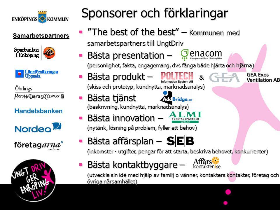 """Sponsorer och förklaringar  """"The best of the best"""" – Kommunen med samarbetspartners till UngtDriv  Bästa presentation – (personlighet, fakta, engage"""