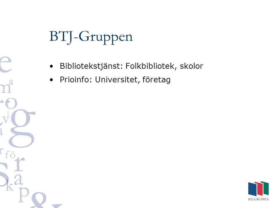 BTJ-Gruppen Bibliotekstjänst: Folkbibliotek, skolor Prioinfo: Universitet, företag