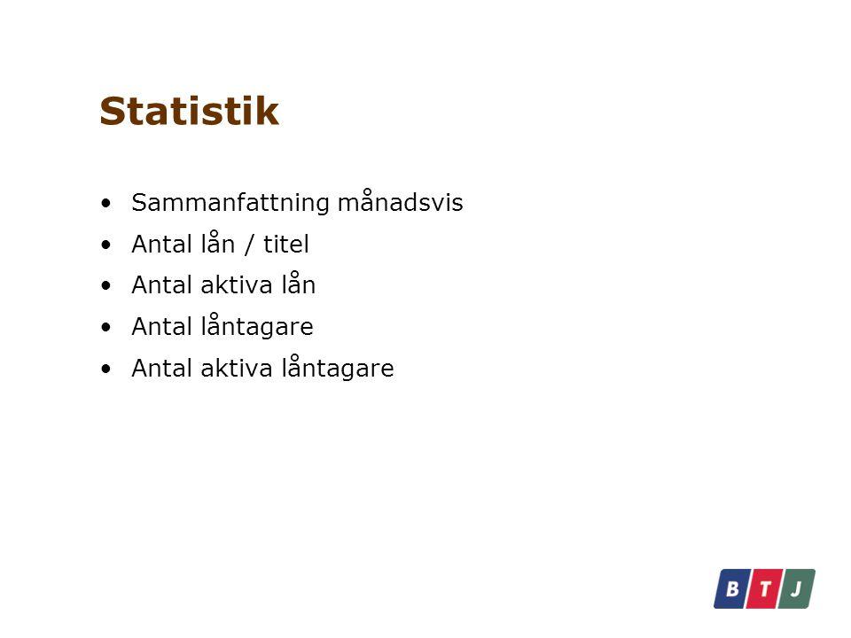 Statistik Sammanfattning månadsvis Antal lån / titel Antal aktiva lån Antal låntagare Antal aktiva låntagare