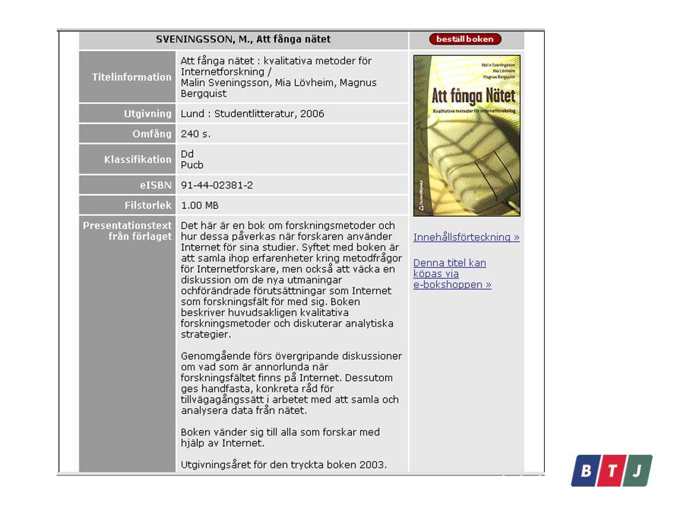 Att börja använda e-biblioteket Skapa bestånd - välja vilka titlar som skall vara tillgängliga för bibliotekets användare Sätta olika parametrar som administratör Hämta katalogposter till egen OPAC Definiera vilken åtkomst till e-böcker ska användas - IP-nummer, Proxy, Lånekort/PIN