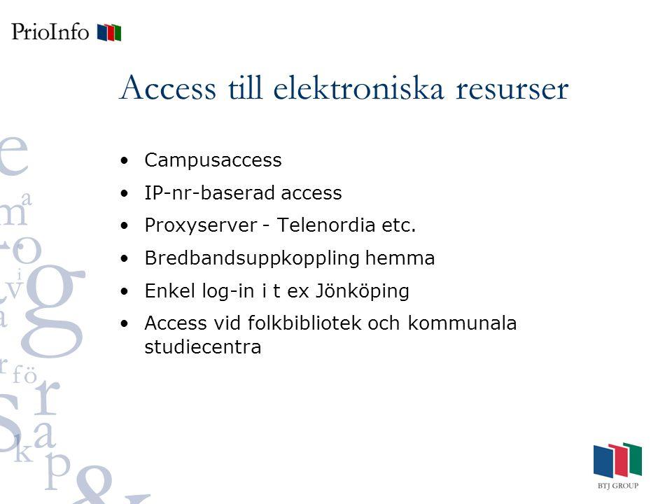 Access till elektroniska resurser Campusaccess IP-nr-baserad access Proxyserver - Telenordia etc.