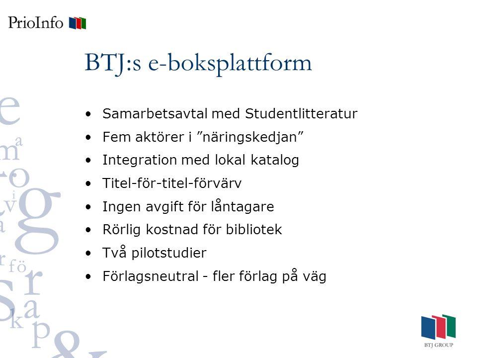 BTJ:s e-boksplattform Samarbetsavtal med Studentlitteratur Fem aktörer i näringskedjan Integration med lokal katalog Titel-för-titel-förvärv Ingen avgift för låntagare Rörlig kostnad för bibliotek Två pilotstudier Förlagsneutral - fler förlag på väg