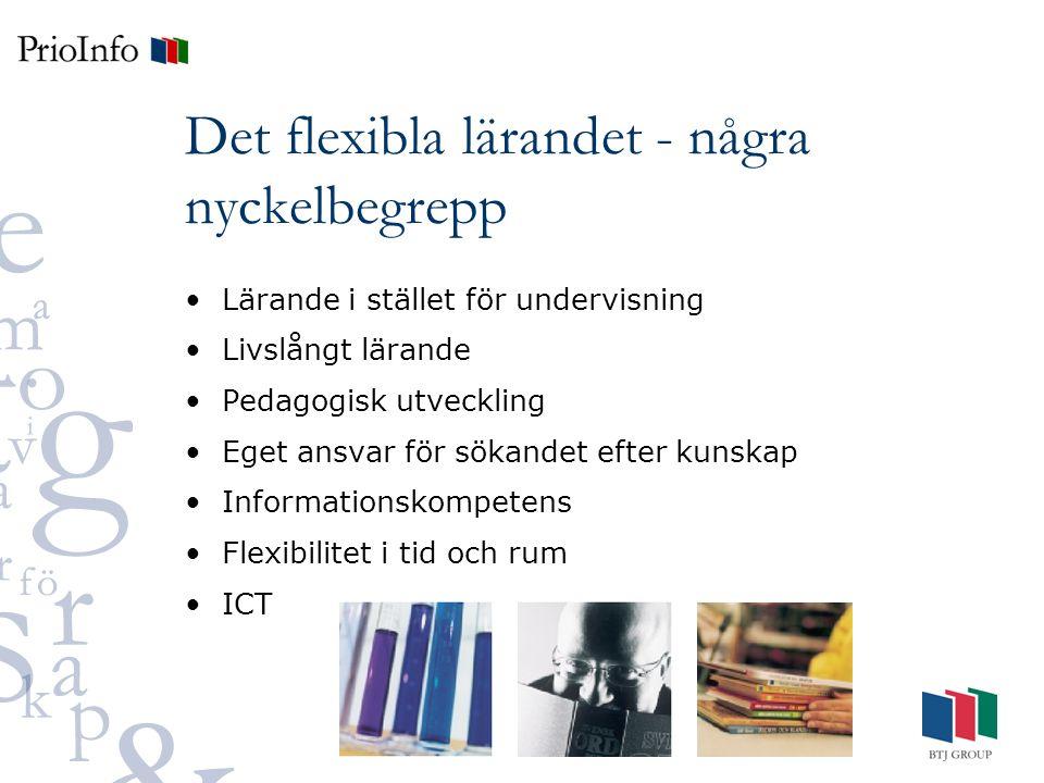 Det flexibla lärandet - några nyckelbegrepp Lärande i stället för undervisning Livslångt lärande Pedagogisk utveckling Eget ansvar för sökandet efter kunskap Informationskompetens Flexibilitet i tid och rum ICT