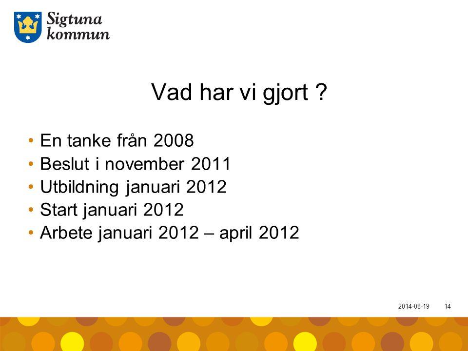 2014-08-1914 Vad har vi gjort ? En tanke från 2008 Beslut i november 2011 Utbildning januari 2012 Start januari 2012 Arbete januari 2012 – april 2012