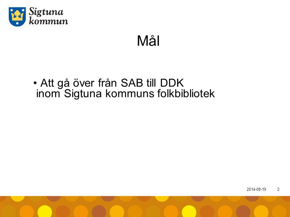 2014-08-193 Syfte Stegvis DDK-införande i olika delar som berör folkbiblioteken i Sigtuna kommun DDK-implementering med stöd från Axiell DDK-implementering med stöd från BTJ Bibliografisk service DDK-implementering med stöd från KB (start)