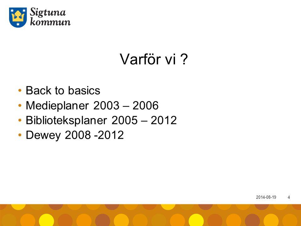 2014-08-194 Varför vi ? Back to basics Medieplaner 2003 – 2006 Biblioteksplaner 2005 – 2012 Dewey 2008 -2012