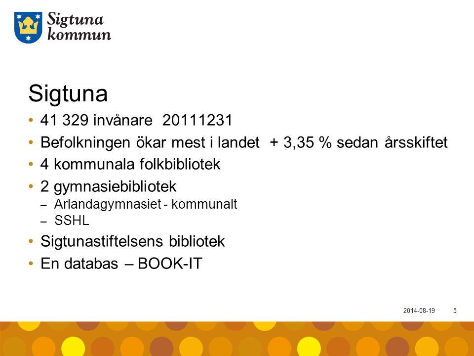2014-08-195 Sigtuna 41 329 invånare 20111231 Befolkningen ökar mest i landet + 3,35 % sedan årsskiftet 4 kommunala folkbibliotek 2 gymnasiebibliotek –