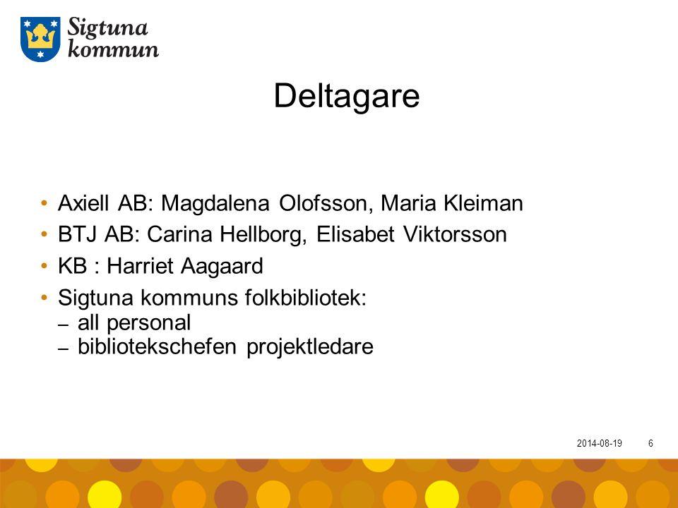 2014-08-196 Deltagare Axiell AB: Magdalena Olofsson, Maria Kleiman BTJ AB: Carina Hellborg, Elisabet Viktorsson KB : Harriet Aagaard Sigtuna kommuns f