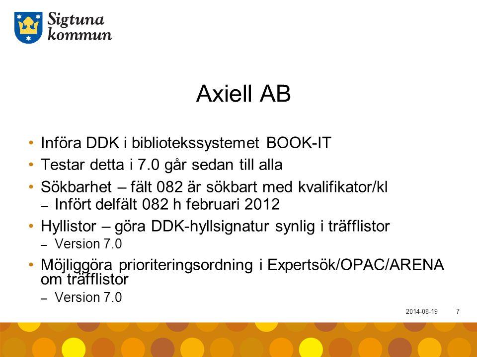 2014-08-197 Axiell AB Införa DDK i bibliotekssystemet BOOK-IT Testar detta i 7.0 går sedan till alla Sökbarhet – fält 082 är sökbart med kvalifikator/