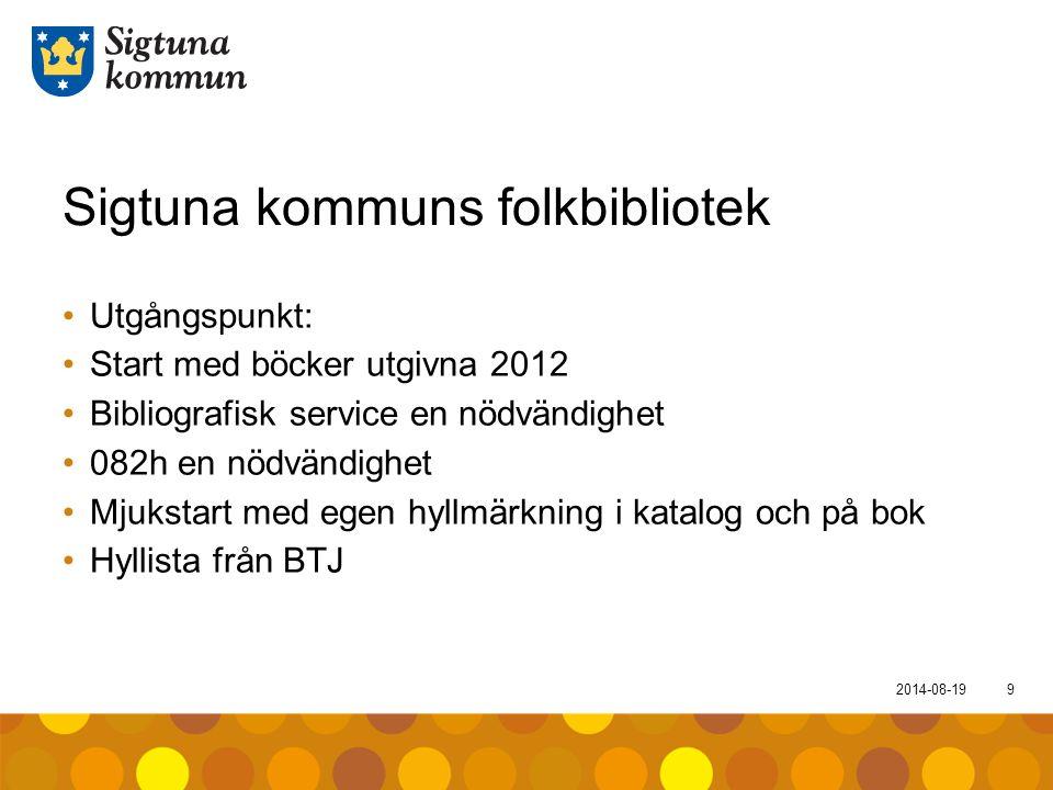 2014-08-199 Sigtuna kommuns folkbibliotek Utgångspunkt: Start med böcker utgivna 2012 Bibliografisk service en nödvändighet 082h en nödvändighet Mjuks