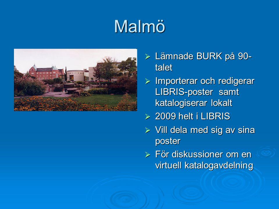 Malmö  Lämnade BURK på 90- talet  Importerar och redigerar LIBRIS-poster samt katalogiserar lokalt  2009 helt i LIBRIS  Vill dela med sig av sina poster  För diskussioner om en virtuell katalogavdelning