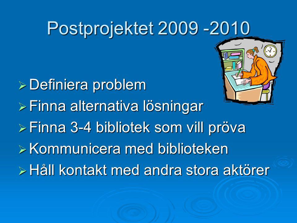 Postprojektet 2009 -2010  Definiera problem  Finna alternativa lösningar  Finna 3-4 bibliotek som vill pröva  Kommunicera med biblioteken  Håll kontakt med andra stora aktörer